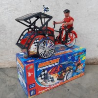 Mainan Becak Baterai Bisa Jalan Suara - Becak Batre Bump Go Anak