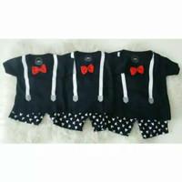 HOT GROSIR 3PCS Setelan Suspender Mickey Hitam SML Serian Baju Anak