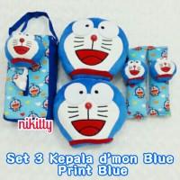 bantal mobil set 3 Headrest Kepala Doraemon Blue Print Blue