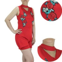 (PROMO) Jumpsuit pendek seksi sleeveless bordir bunga model vneck