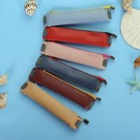 Kotak Pensil Elastis Bahan Kulit PU dengan Resleting untuk Sekolah /