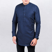 Baju Koko Kurta Kemeja Pria Kurta Pakistan Baju Muslim Biru Navy Blue
