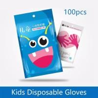100pc Sarung Tangan Plastik Anak /Kids Disposable Gloves Multi Purpose