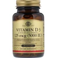 Solgar Vitamin D3 (Cholecalciferol) 5,000 IU 100 Softgels