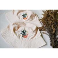 Bucket Hat Plant dan Cat - Pale Pink - sulaman tangan by Jahitan oma