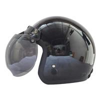 Helm Bogo / Helm Retro Igloo Solid Black 9Free kaca helm)