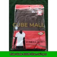 Rider Kaos Dalam Pria V-Neck (Kode R222B Hitam) Isi 1 Pcs