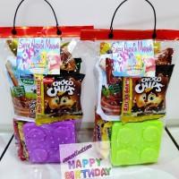 Paket souvenir ulang tahun Snack & kotak makan Lego