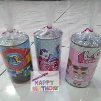 celengan kaleng untuk tambahan souvenir ulang tahun