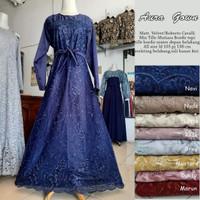 AuraGown (Standart dan Jumbo)/ Gamis Brokat Modern / Baju Muslim Syari - Navy, Standart