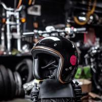 Epic Helm Slim Half Face Black / Hitam Glossy List Gold SNI