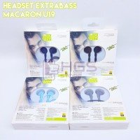 Earphone Headset Macaroon U19 Extra Bass - Hitam