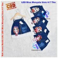 Rok Jeans Renda LOL LED (Bisa Menyala) Usia 4-7 Tahun