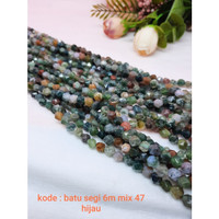 Bahan Gelang Batu Segi 6mm Mix 47 Hijau / Bead Segi 6m