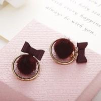 Anting Wanita Pom Pom Cokelat Tusuk Korea Import AU 025