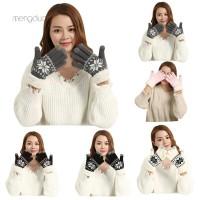 Meng Sarung Tangan Rajut Hangat Tebal Touch Screen untuk Wanita /