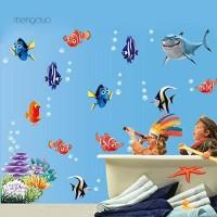 MD Stiker Dinding Decal Desain Kartun Fish seabed, Dapat Dicopot,
