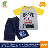 Skabe Baju Anak Laki Laki Fire Truck Setelan Jeans Usia 3-9 Tahun 3389