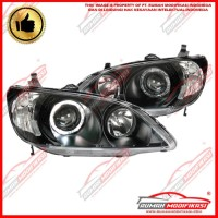 HEADLAMP - HONDA CIVIC 2004-2005 - EAGLEEYES - ANGEL EYES - BLACK