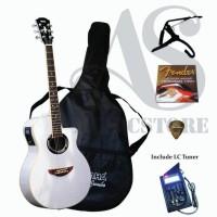 FULLSET Gitar Akustik Elektrik Yamaha APX 500ii Putih Eq LC Tuner