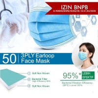 Masker Earloop 3 Ply Face Mask Disposable