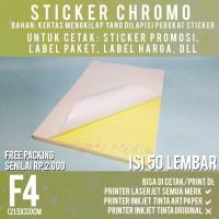 Sticker Chromo F4 isi 50 / Kertas Stiker Bontax Glossy Mengkilap Folio