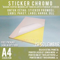 Kertas Sticker Chromo A4 isi 50 Lembar / Stiker Glossy Mengkilap A4