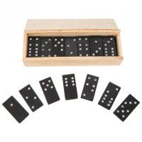 Mainan Kartu domino Kayu Gaple Wood Box Domino Game Board Awet isi 28