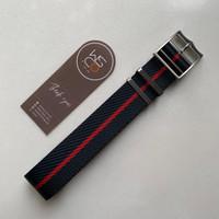 Woven Nato Strap Tali Jam Tangan Adjustable - Black Red, 22mm