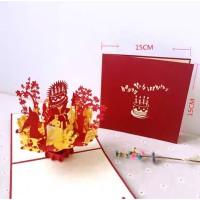 Kartu Ucapan 3d - 4D Mewah Timbul Happy Birthday Cake Gold Merah