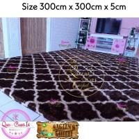 Karpet/Matras Rasfur Motif Geometric uk 3Mx3Mx5cm Busa Royal Anti Slip - Merah