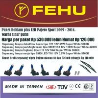 Paket bohlam Fehu plus LED untuk Pajero Sport 2009 - 2015. Sinar putih