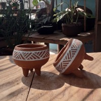 Pot gerabah kaktus dan sukulen mini vintage kuno etnik
