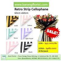 Retro Strip Cellophane 1235 20 lbr/pack, aksesoris bunga, kertas buket