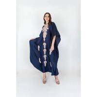 Embellished Mandari Collar Satin Kaftan