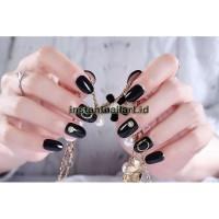 BN-744 Black Fake Nails Nail Art Kuku Palsu Hitam Simple Cantik Elegan