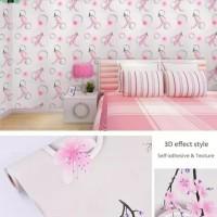 wallpaper sticker dinding motif bunga sakura pink