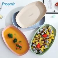 Freemir Piring Jerami Gandum Set Piring bentuk Oval kotak Mix warna