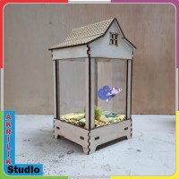 Aquarium mini cantik bentukj gajebo Serbaguna PxLxT10x10x15