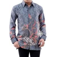 kemeja batik pria lengan panjang batik semi sutera halus AD76 - Abu-abu, M