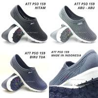 Sepatu Karet Jaring Slip On Pria ATT PSO 159 Hitam & Abu