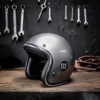 Epic Helm Half Face Grey / Abu Glossy List Chrome SNI