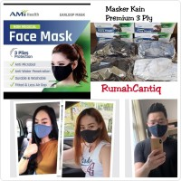 Masker Kain Premium AMI HEALTH 3 Plies Earloop Per Box Isi 12