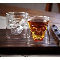 Gelas Tengkorak Gelas Kopi Wishky Vodka Liquor Gelas Unik Kaca Double