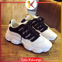 SK-S1 117 Sepatu Kets Wanita Sepatu Sneakers Joging Sport Sepatu - HITAM 37CM