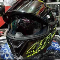 HELM KYT REPAINT AGV ROSSI 46 PROJECT BLACK YELLOW FULL FACE