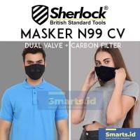 Masker Motor N99 CV Dual Valve Carbon PM 2.5 SHERLOCK model BOWIN
