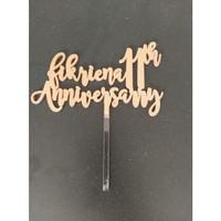 CUSTOM CAKE TOPPER ANNIVERSARY / TOPPER KUE / HIASAN KUE - 10cm