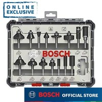 "Bosch Mata Router Set 15pcs dengan 1/4"" Shank 017473"