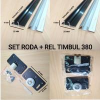 Set Roda PLUS Rel Timbul 380 Pintu Lemari Sliding / Geser ( 1,5 Mtr )